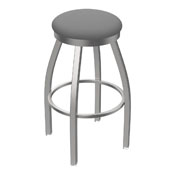 802 Misha Swivel Stool with Stainless Finish and Canter Folkstone Grey Seat