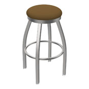 802 Misha Swivel Stool with Stainless Finish and Canter Saddle Seat
