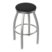 802 Misha Swivel Stool with Stainless Finish and Graph Coal Seat