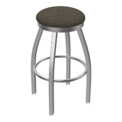 802 Misha Swivel Stool with Stainless Finish and Graph Chalice Seat