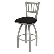 810 Contessa Swivel Stool with Anodized Nickel Finish and Canter Espresso Seat