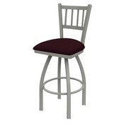 810 Contessa Swivel Stool with Anodized Nickel Finish and Canter Bordeaux Seat