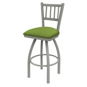 810 Contessa Swivel Stool with Anodized Nickel Finish and Canter Kiwi Green Seat