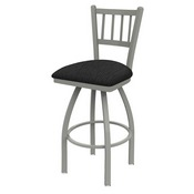 810 Contessa Swivel Stool with Anodized Nickel Finish and Graph Coal Seat