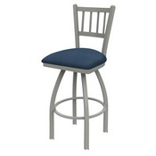810 Contessa Swivel Stool with Anodized Nickel Finish and Rein Bay Seat