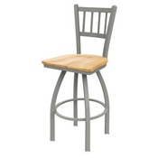 810 Contessa Swivel Stool with Anodized Nickel Finish and Natural Maple Seat