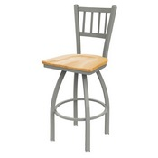 810 Contessa Swivel Stool with Anodized Nickel Finish and Natural Oak Seat