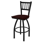 "810 Contessa 36"" Swivel Bar Stool with Black Wrinkle Finish and Dark Cherry Oak Seat"
