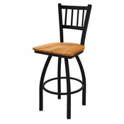 "810 Contessa 36"" Swivel Bar Stool with Black Wrinkle Finish and Medium Maple Seat"