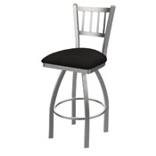 810 Contessa Swivel Stool with Stainless Finish and Canter Espresso Seat