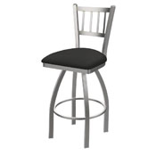 810 Contessa Swivel Stool with Stainless Finish and Canter Iron Seat