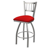 810 Contessa Swivel Stool with Stainless Finish and Canter Red Seat