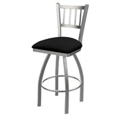 810 Contessa Swivel Stool with Stainless Finish and Black Vinyl Seat