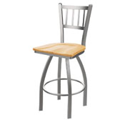 810 Contessa Swivel Stool with Stainless Finish and Natural Oak Seat