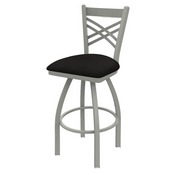 820 Catalina Swivel Stool with Anodized Nickel Finish and Canter Espresso Seat