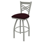 820 Catalina Swivel Stool with Anodized Nickel Finish and Canter Bordeaux Seat