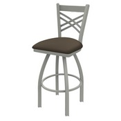 820 Catalina Swivel Stool with Anodized Nickel Finish and Canter Earth Seat