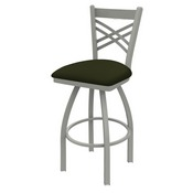820 Catalina Swivel Stool with Anodized Nickel Finish and Canter Pine Seat