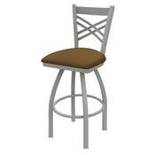 820 Catalina Swivel Stool with Anodized Nickel Finish and Canter Saddle Seat