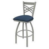820 Catalina Swivel Stool with Anodized Nickel Finish and Rein Bay Seat