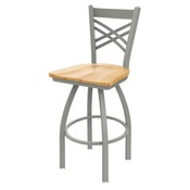 820 Catalina Swivel Stool with Anodized Nickel Finish and Natural Maple Seat