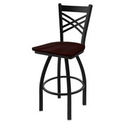 "820 Catalina 36"" Swivel Bar Stool with Black Wrinkle Finish and Dark Cherry Oak Seat"