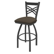 820 Catalina Swivel Stool with Pewter Finish and Canter Earth Seat