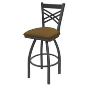 820 Catalina Swivel Stool with Pewter Finish and Canter Saddle Seat