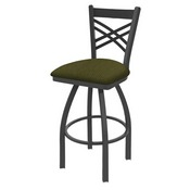 820 Catalina Swivel Stool with Pewter Finish and Graph Parrot Seat