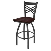 820 Catalina Swivel Stool with Pewter Finish and Dark Cherry Maple Seat