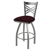 820 Catalina Swivel Stool with Stainless Finish and Canter Bordeaux Seat