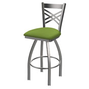 820 Catalina Swivel Stool with Stainless Finish and Canter Kiwi Green Seat
