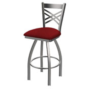 820 Catalina Swivel Stool with Stainless Finish and Graph Ruby Seat