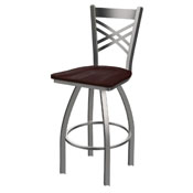 820 Catalina Swivel Stool with Stainless Finish and Dark Cherry Maple Seat