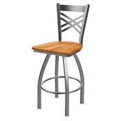 820 Catalina Swivel Stool with Stainless Finish and Medium Maple Seat
