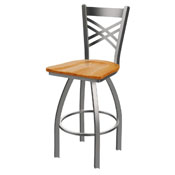 820 Catalina Swivel Stool with Stainless Finish and Medium Oak Seat