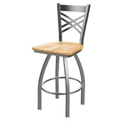 820 Catalina Swivel Stool with Stainless Finish and Natural Maple Seat