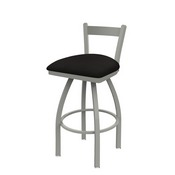 821 Catalina Low Back Swivel Stool with Anodized Nickel Finish and Canter Espresso Seat