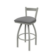 821 Catalina Low Back Swivel Stool with Anodized Nickel Finish and Canter Folkstone Grey Seat