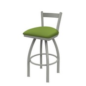 821 Catalina Low Back Swivel Stool with Anodized Nickel Finish and Canter Kiwi Green Seat