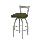 821 Catalina Low Back Swivel Stool with Anodized Nickel Finish and Graph Parrot Seat