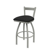 821 Catalina Low Back Swivel Stool with Anodized Nickel Finish and Graph Coal Seat