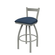 821 Catalina Low Back Swivel Stool with Anodized Nickel Finish and Rein Bay Seat