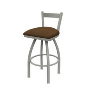 821 Catalina Low Back Swivel Stool with Anodized Nickel Finish and Rein Thatch Seat