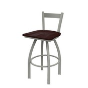 821 Catalina Low Back Swivel Stool with Anodized Nickel Finish and Dark Cherry Maple Seat
