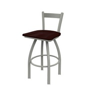 821 Catalina Low Back Swivel Stool with Anodized Nickel Finish and Dark Cherry Oak Seat