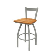 821 Catalina Low Back Swivel Stool with Anodized Nickel Finish and Medium Maple Seat