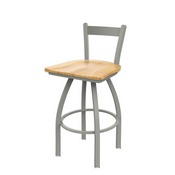 821 Catalina Low Back Swivel Stool with Anodized Nickel Finish and Natural Maple Seat