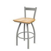 821 Catalina Low Back Swivel Stool with Anodized Nickel Finish and Natural Oak Seat