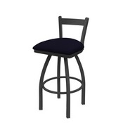 821 Catalina Low Back Swivel Stool with Pewter Finish and Canter Twilight Seat